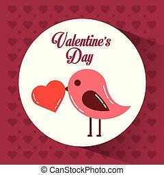 心, バレンタインデー, くちばし, 鳥, カード