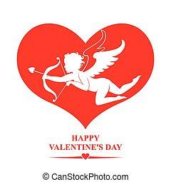 心, バレンタイン, キューピッド, 赤, 日, カード