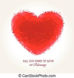 心, バレンタイン, モザイク, 幾何学的