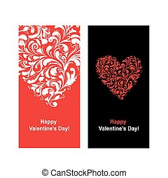 心, バレンタイン, 形, デザイン, あなたの, カード