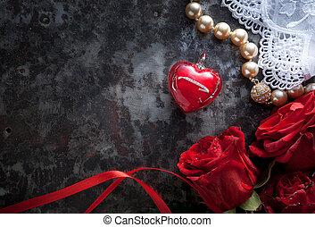 心, バレンタイン, 挨拶, 暗い, ばら, カード, 背景, 赤