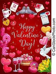 心, バレンタイン, 日, 幸せ, 風船, カリグラフィー