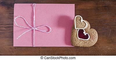 心, バレンタイン, 木製である, クッキー, 封筒, 暗い背景, gingerbread, 日, 赤