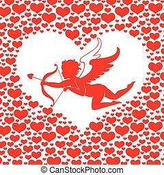心, バレンタイン, amur, カード, 日