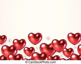心, バレンタイン, garland., banner., 色, お祝い, text., 挨拶, 銀, 現実的, 場所カード, 背景, 明るい, 光沢がある, 日, 赤, 幸せ