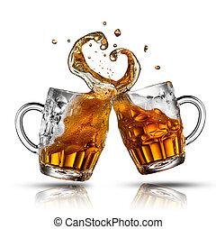 心, ビール, 隔離された, 形, はね返し, 白