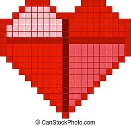 心, ピクセル, 赤