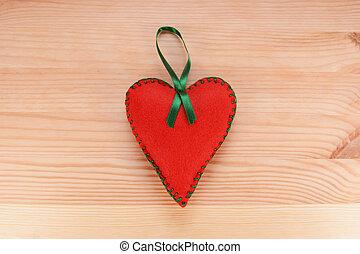 心, フェルト, 装飾, 緑の赤, リボン
