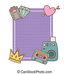 心, フレーム, ダイヤモンド, 王冠, カセット