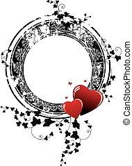 心, フレーム, ツタ, バレンタイン