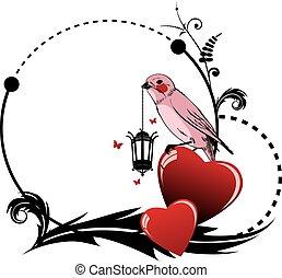 心, フレーム, 鳥