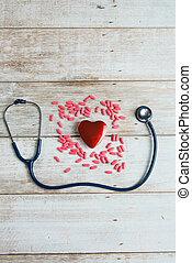 心, ヘルスケア, 概念, 聴診器, 写真