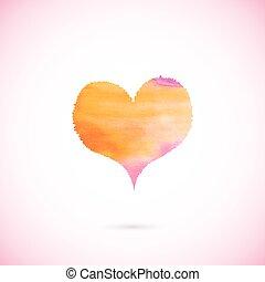 心, ベクトル, ピンク, ペイントされた