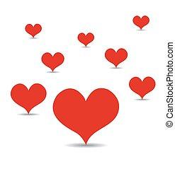 心, ベクトル, 愛, 赤, イラスト