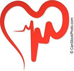心, ベクトル, 愛, 赤, cardiogram