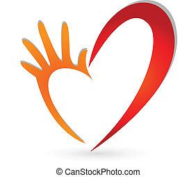 心, ベクトル, 手, ロゴ
