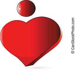 心, ベクトル, 数字, ロゴ