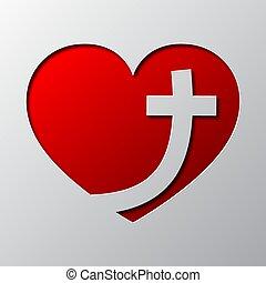 心, ベクトル, 芸術, illustration., cross., ペーパー, キリスト教徒, 赤