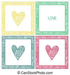 心, ペイズリー織, バレンタインカード, パターン