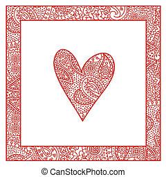 心, ペイズリー織, パターン, フレーム, バレンタインカード