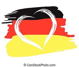心, ペイントされた, シンボル, 形, ドイツの旗