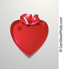 心, ペーパー, 赤い背景, 白いリボン