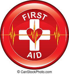 心, ボタン, 最初に, 健康, 援助