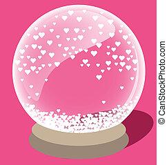 心, ボール, 中, マジック, 小さい, 水晶, 白