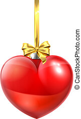 心, ボール, 形づくられた, 装飾, クリスマス安っぽい飾り