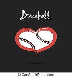 心, ボール, 野球, 形づくられた