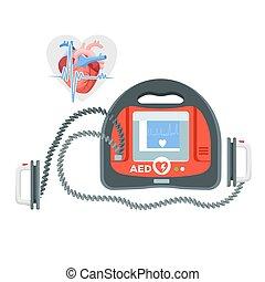 心, ポータブル, スクリーン, 現代, イラスト, 小さい, defibrillator
