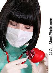 心, マスク, 外科, 聴診器, 使うこと, 看護婦, black-haired, 赤