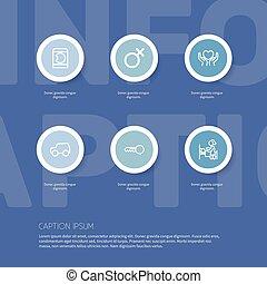 心, モビール, セット, ありなさい, icons., 缶, 手。, editable, 使われた, 睡眠, シンボル, infographic, ui, 網, 6, 人々, そのような物, 含む, 手がかり, design.