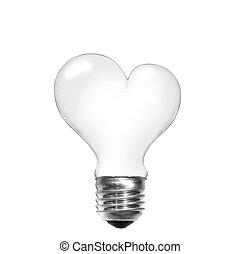 心, ライト, 隔離された, 形, 電球, 白