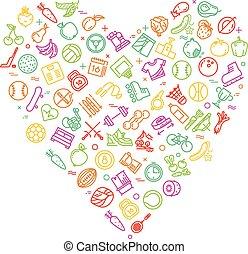 心, ライフスタイル, アイコン, 健康, 現代, 形, 薄くなりなさい, フィットネス, ロゴ, 線
