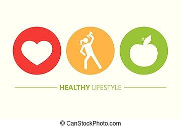 心, ライフスタイル, アップル, アイコン, 健康, スポーツ
