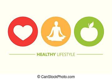心, ライフスタイル, アップル, アイコン, 健康, ヨガ