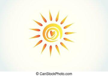 心, ロゴ, 愛, 太陽