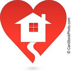 心, ロゴ, 愛, 家