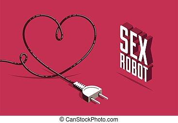 心, ロボット, ベクトル, 3d, 作られた, イラスト, ポスター, 形, プラグ, 概念, 等大, style.