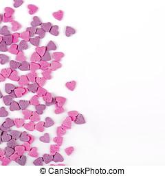 心, ロマンチック, スペース, キャンデー, パターン, 形づくられた, 挨拶, コピー, カード