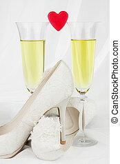 心, ワイン, 2, 赤, ガラス