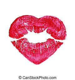 心, 上に, 唇, 隔離された, 形, 背景, 接吻, 白