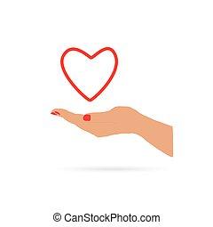 心, 中に, 手, 愛, ベクトル
