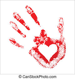 心, 中, handprint, 赤