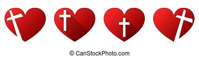 心, 交差点, キリスト教徒, icon., 形, ベクトル