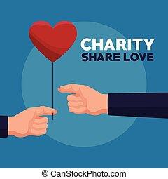 心, 人間, 色, balloon, 手, 寄付, 背景