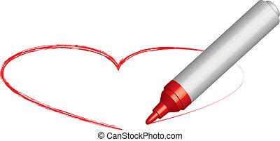 心, 以及, a, 紅色, 氈制粗頭筆
