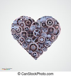 心, 作られた, の, 金属, はめば歯車