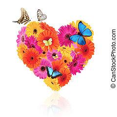 心, 作られた, シンボル, gerber, 蝶, 花